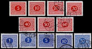 Czechoslovakia Scott J58-J69 (1928) Used/Mint H F-VF Complete Set B