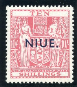 Niue 1942 KGVI 10s pale carmine-lake superb MNH. SG 81. Sc 88.