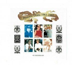 Maldives MNH S/S 9803 Princess Diana Memorial 6 Stamps