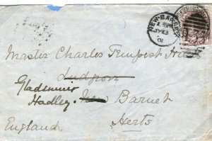 GB South Africa Cover ANGLO BOER WAR FPO Forwarded *New Barnet* Herts 1901 38b.3