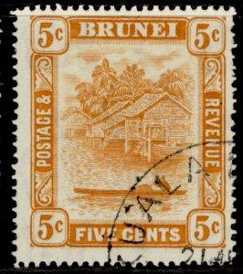 BRUNEI GVI SG82, 5c orange, FINE USED.