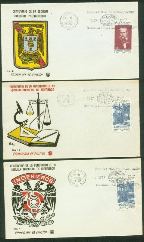 MEXICO 988-989, CENT PREPARATORY & ENGINEERING SCHOOLS. 3FDCs VF. (144)