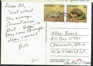 BOTSWANA COVER (P0506B) 1994 12T+40T ANIMALS ON PPC  MAUN  TO USA