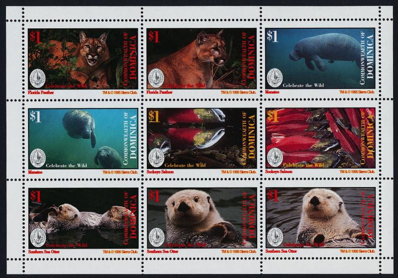Dominica 1817-8 MNH Sierra Club, Animals, Marine Mammals, Fish, Otter, Panther