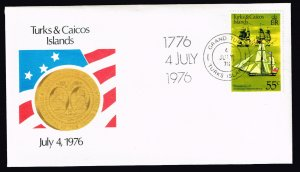 UK STAMP Turks And Caicos Islands 1976 JULY 4TH ONLY ONE DAY FDC  55C