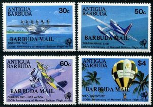 HERRICKSTAMP BARBUDA Sc.# 587-90 Manned Flight
