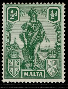 MALTA GV SG124, ½d green, NH MINT.