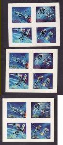 Bhutan-Sc#91M,N,O-three unused NH sheets-3-D stamps-Space Capsule-Astronauts-196