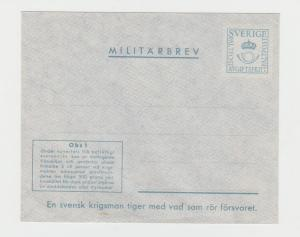 SWEDEN 1943 MILITRAY COVER MILITARBREV VF UNUSED