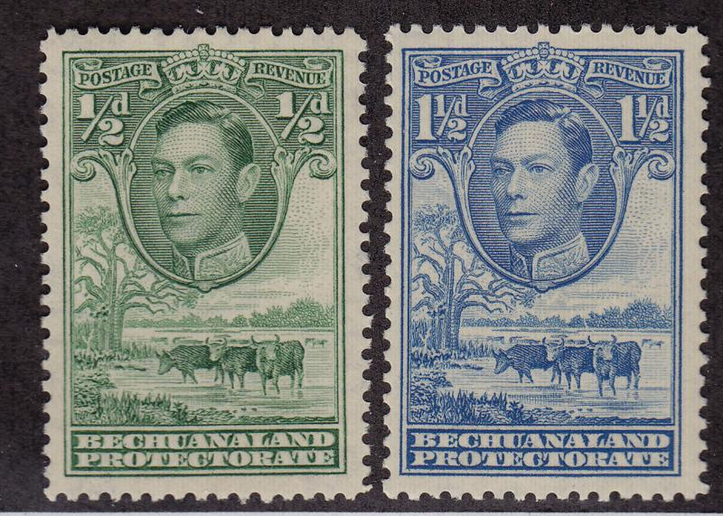 BECHUANALAND PROTECTORATE Scott # 124 MLH, 126 MNH King George VI (1 Stamp) -3