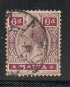 Malta Sc 58 1914 6d dull violet & red violet G V stamp used