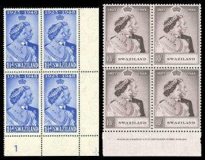Swaziland 1948 KGVI Silver Wedding set (inprint/plate block) MNH. SG 46-47.
