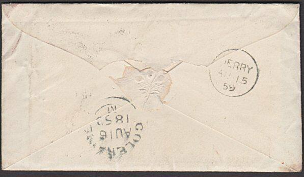 GB IRELAND 1859 1d red stars on cover STRABANE to Colraine via Derry.......27737