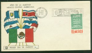 MEXICO C317, YEAR OF FRIENDSHIP WITH CENTRAL AMERICA. FDC VF. (65)
