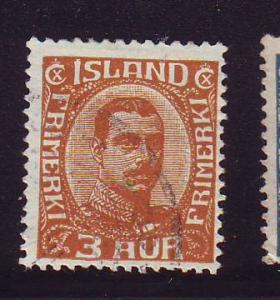 Iceland Sc 109 1920 3 aur Christian X stamp used