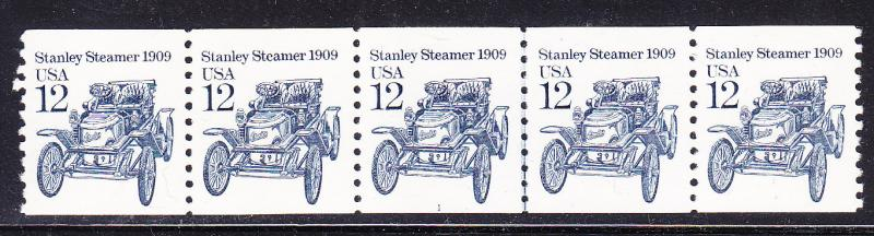 Stanley Steamer 1909 Plate Number Strip of 5. Plate Nr.-1  VF/NH
