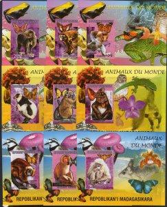 Madagascar 1999 Sc#1416J Lemours/Butterflies/Mushrooms/Orchids 9 SS IMPERF.MNH