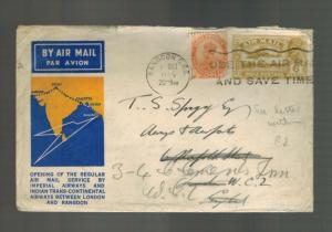 1933 Rangoon Burma First flight cover FFC Imperial Airways to London England ltr