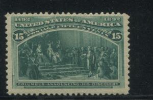 1893 US Stamp #238 15c Mint Hinged F/VF Original Gum Catalogue Value $200