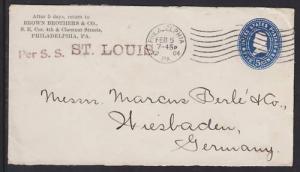 US Sc U377. 1904 5c Entire, per S.S. ST. LOUIS