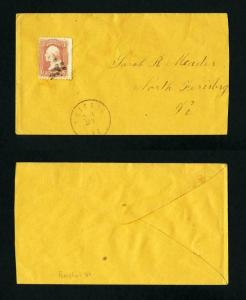 # 65 on cover from Bristol, Vermont to North Ferisburg, Vermont - 1-27-1860's