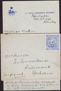 BARBADOS 1898 Military letter & cover 1st Royal Berkshire Regiment..........8742