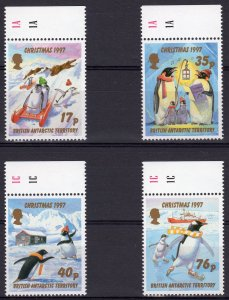 British Antarctic Territory 1997 Sc#249/252 Penguins-Ice Skating-Christmas MNH
