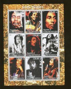 Turkmenistan Musician Bob Marley Commemorative Souvenir Stamp Sheet
