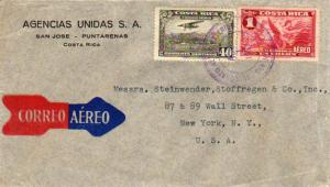 Costa Rica 40c Mail Plane About to Land and 1C Allegory of Flight 1937 Correo...