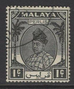 MALAYA PERLIS SG7 1951 1c BLACK FINE USED