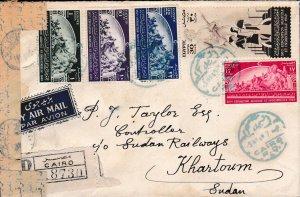 Egypt 1949 Agricultural Expo Registered Censored Airmail Cover - Khartoum,Sudan
