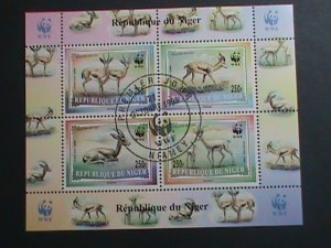 NIGER-1998-SC#986b-WWF-ENDANGER ANIMALS S/S SCV.$40