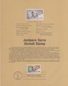1985 JUNIPERO SERRA  AIRMAIL FDC SOUVENIR PAGE