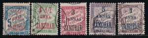 French Offices Zanzibar 1897 SC J1-J5 Used Set