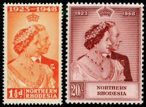 NORTHERN RHODESIA SG48-49, COMPLETE SET, NH MINT. Cat £100. RSW