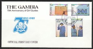 Gambia, Scott cat. 589-592. Girl Guides Anniversary. First day cover. ^