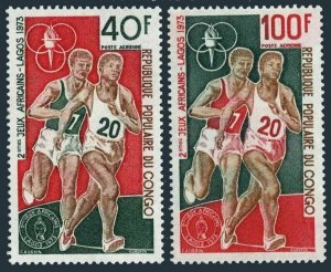 Congo PR C180-C181,MNH.Michel 407-408. 2nd African Games,Lagos-1973.Runners.