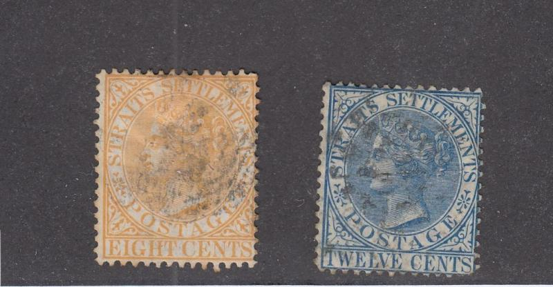 STRAITS SETTLEMENTS # 10-14 LIGHT USED QUEEN VICTORIAN ISSUES CAT VALUE $52.50