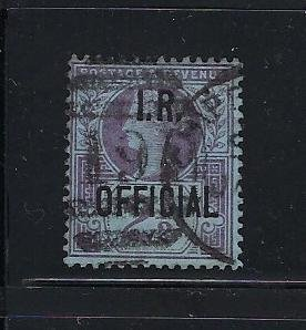 GREAT BRITAIN SCOTT #O14 1891 I.R. OFFICIAL 2 1/2P  (VIOLET/BLUE) - USED