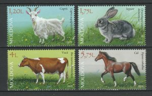 Moldova MNH Set Domestic Animals Cow Horse Goat Rabbit 2019