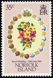 Norfolk Island # 280 mnh ~ 35¢ Royal Wedding - Bouquet