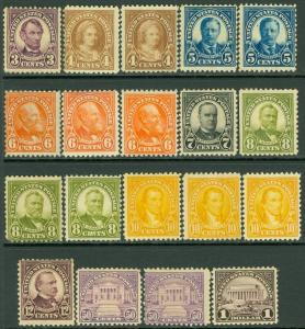 USA : 1922-23. Nice Mint OGH grouping of 19 stamps between Sc #552/571. Cat $466
