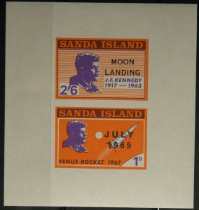 Sanda Island APOLLO XI Moon Landing July 1969 Overprint on JFK Postage & S/Sheet