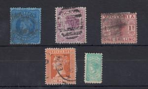 Australia Victoria QV Collection of 5 Values Fine Used J696