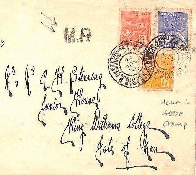BF24 BRAZIL *ISLE OF MAN* MAIL 1939 Dos Santos Cover Unusual *MR* Postmark IOM
