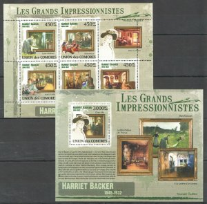 UC322 2009 COMOROS ART FAMOUS PAINTINGS HARRIET BACKER 1845-1932 BL+KB MNH