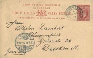 Gibraltar 1d KEVII Postal Card 1907 Gibraltar, 26 to Dresden, Germany.