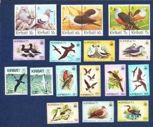 KIRIBATI -  Scott 384 // 399 & 599-604a - FVF MNH - BIRDS - 1982-1993