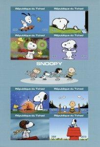 Chad Snoopy Stamps 2019 MNH Peanuts Charlie Brown Cartoons Comics 8v IMPF M/S