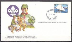 Anguilla, Scott cat. 504 only. Scouts Sailing value. First day card. ^